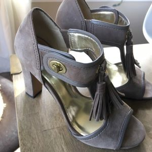Coach size 7 taupe block heels